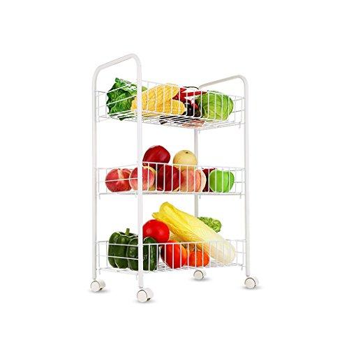 Qiutianchen 3-Lagen Multifunktionsmobilscheibe Bodenständer Obst- und Gemüse-Speicher-Rack-Drain-Küchenregal