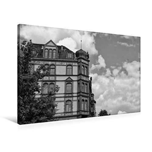 Premium - Lienzo de lienzo (90 x 60 cm, horizontal, diseño de edificios antiguos), color blanco y negro