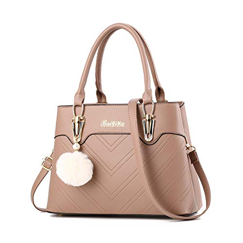 BeniNew women's bag Messenger bag hair ball decoration handbag large capacity shoulder bag-Khaki