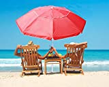 7Ft Portable Beach Umbrella with Push Button Tilt and Telescopic Pole,Adjustable Height Fiberglass Rib Patio Parasol,Wind Vented UV 50+ Protection Umbrella for Outdoor Patio Beach Back Yard Deck(RED)