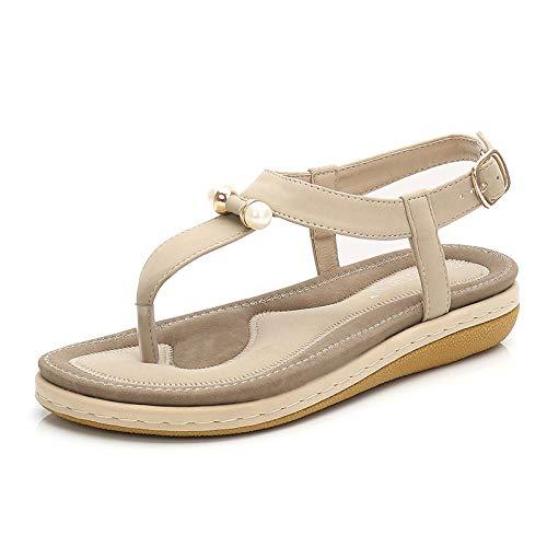 Damaifirstes Zapatos De Playa De BañO,Chanclas CóModas, Sandalias Mujer Perla, Chanclas Antideslizantes y Transpirables-Beige_44