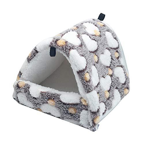 Souarts Hängematte Hamster weiches hängendes Bett Kuschelbett Set Kuschelhöhle Flauschmatte Etagenbett Kleintierebett für Ratte Kleintier Käfig Schlaf Nest(Braun,17x15cm)