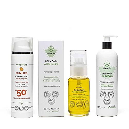 COSMETICA ONCOLOGICA Pack Aceite Integral + Gel de Ducha + Crema Solar Mineral Facial y Corporal SPF 50 Viventie