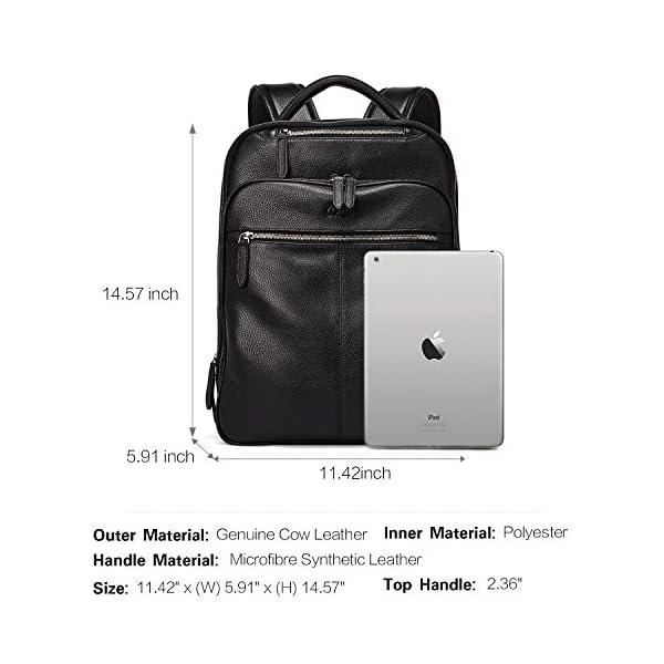 CLUCI Genuine Leather Backpack for Men Slim 15.6 Inch Laptop Large Capacity Business Travel Bag Black 3