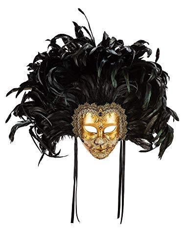 """Klassisch venezianische Deko-Maske """"Eyes Wide Shut"""" mit Krakelee-Dekor, Blattgold und Federn - Made In Italy"""