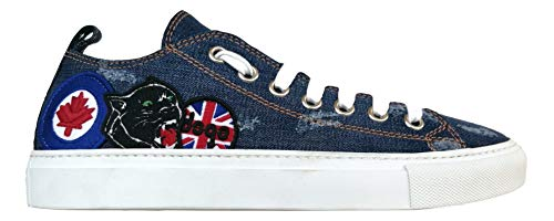 Dsquared S17SN116 1246 3085 - Zapatillas deportivas para hombre (tejido vaquero lavado), color azul Azul Size: 42.5 EU