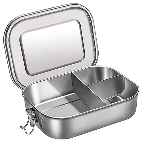 Fiambrera de 1200 ml Contenedor de Alimentos de Acero Inoxidable, Bento Box para Niños, Lunchbox Fiambrera Sostenible con Divisor, Apta para Lavavajillas con 3 Compartimentos