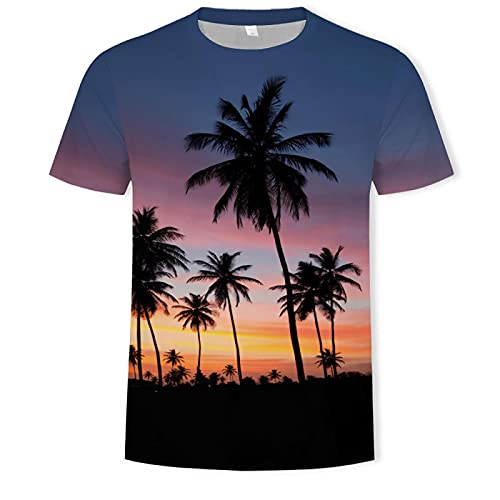 Astemdhj Camiseta de Manga Corta Camisa 3D Camisetas De Moda De Verano para Hombres Y Mujeres 3D Bosque Belleza Impresión Ropa Casual Talla S-6Xlt Camisa XXXL T590