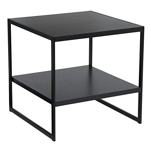 Household Essentials Square 2-Tier Black End Table