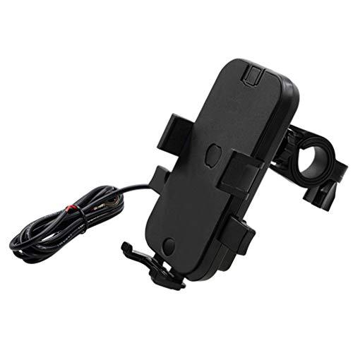 Hemobllo Motorrad handyhalterung Fahrrad handyständer Anti-Shake handyhalter 360 rotierenden handyhalter für Fahrrad Auto USB schnellladung schwarz (lenkertyp)
