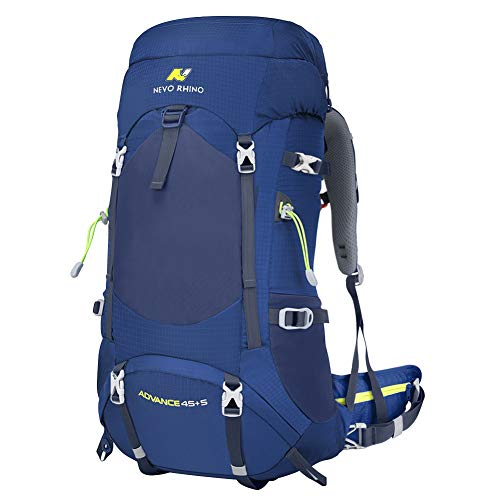 N NEVO RHINO 50L Blue Hiking Backpack, Internal Frame Hiking Backpack, Alpine Climbing Backpack, Waterproof Camping Backpacking Daypack Suitable for Women, Men, Child (45+5 L)