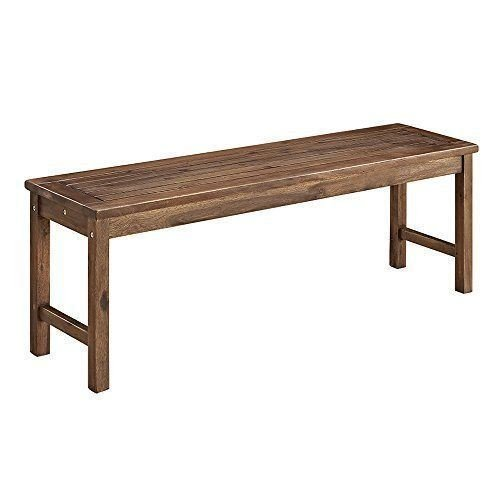 Walker Edison Furniture Company Solid Acacia Wood Patio Bench - Brown