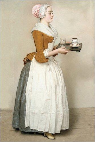 Posterlounge Leinwandbild 60 x 90 cm: Das Schokoladenmädchen von Jean Etienne Liotard - fertiges...