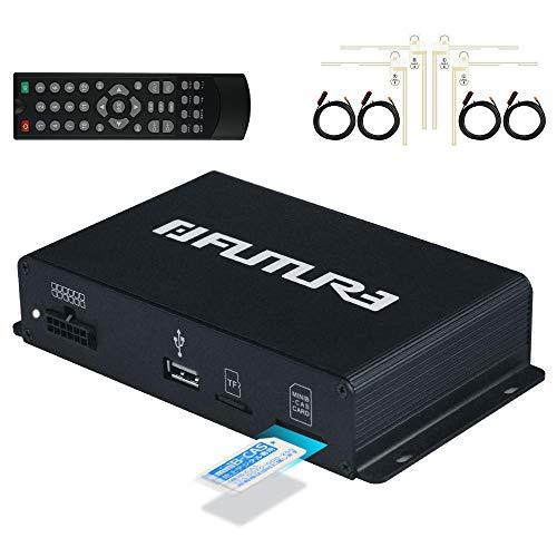 地デジチューナー 車載用 4×4 フルセグ/ワンセグ 高速切替 受信感度3倍UP miniB-CASカード付き フィルムアンテナ AV HDMI出力対応 12V 24V 1年保証「A-AD-TV」