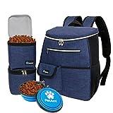 PetAmi Dog Travel Bag Backpack   Backpack Organizer with Poop Bag Dispenser, Multi Pocket, Food Container Bag, Collapsible Bowl   Weekend Pet Travel Set for Hiking Overnight Camping Road Trip (Navy)
