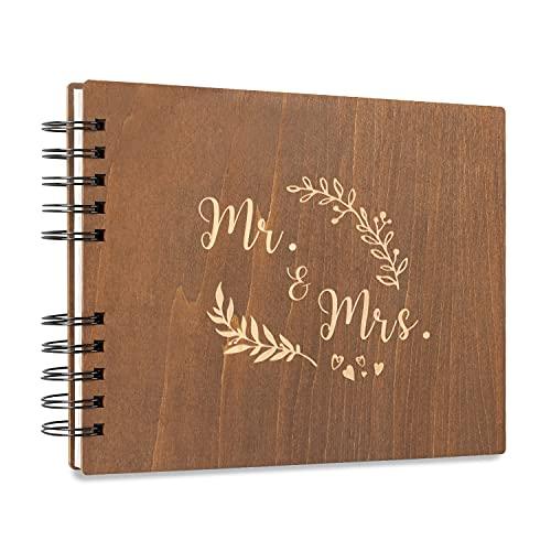 Creawoo 28.5cm Mr & Mrs Libro de visitas de madera Álbum Recuerdo...