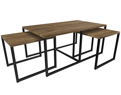 NOVAMAT 3-in-1 salontafel DAO in loft-stijl tafel woonkamertafel van hout Elagant Design Edel eiken donker