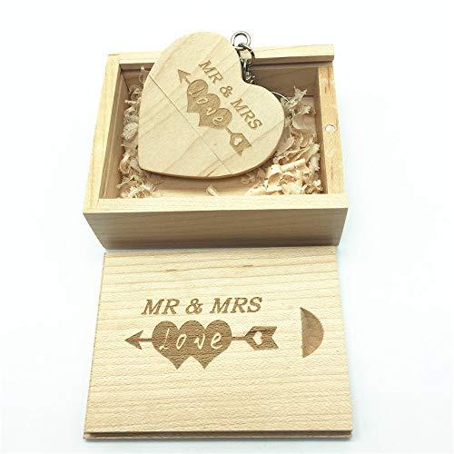 Memoria USB de madera con diseño grabado por láser de Mr & Mrs - Memoria USB de 64GB con forma de corazón y caja a juego para regalo de novedades (Maple)