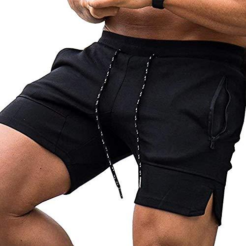 COOFANDY Herren Shorts Training Jogginghose Sport Laufhose mit Taschen - 2 Seiten mit Reißverschluß & Kordel Regular Fit, Slim Fit Ideal für Fitnessstudio Gym