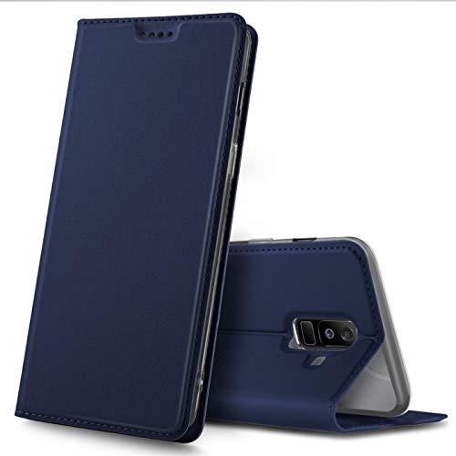 Verco Handyhülle für Galaxy A6+ (2018), Premium Handy Flip Cover für Samsung Galaxy A6 Plus Hülle [integr. Magnet] Book Hülle PU Leder Tasche, Blau