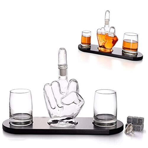 SGSG Decantador de Whisky novedoso de Dedo Medio, 2 Vasos para Beber y Base de Madera, decantador de Licor de 1000 ml con tapón de Dedo Medio extraíble