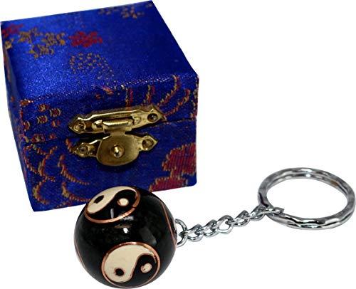 Schlüsselanhänger Cloisonné, Klangkugel mit Yin Yang, 2,7 cm, Glücksbringer