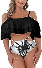 I2CRAZY Womens Tankini Swimsuits Off Shoulder Ruffle Crop Top Bikini Padding Push Up Monokini Swimwear - M, Black