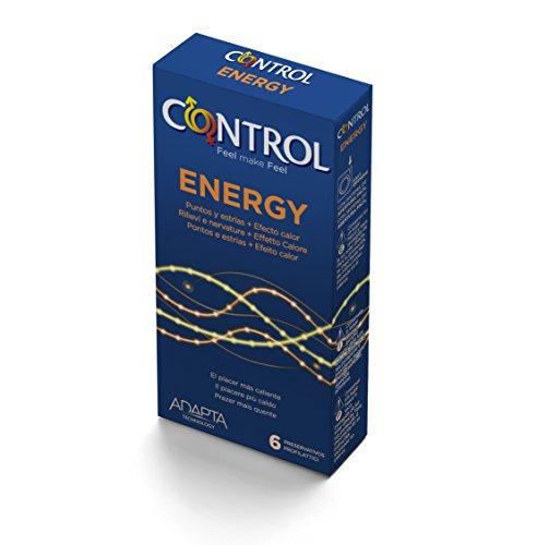 Control Energy, 6 verwarmende condooms, stimulerend, met nopjes en ribbels