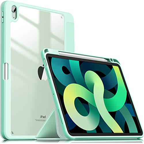 INFILAND Case for iPad Air 4th Generation,iPad 10.9 Inch 2020 Stand Shell, [TPU Soft Edge Shockproof] [Auto Sleep/Wake Cover] [Lightweight Transparent Back] [Pencil Holder Protector],Mint Green