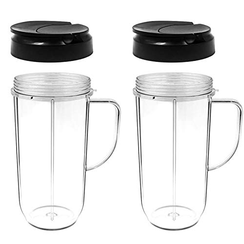 2 Pack Blender Cup, Replacement Part Flip Top Lid and 22oz Tall Cups with Handle for 250w Magic Bullet Mugs & Cups Blender, Juicer Mixer Juice Glasses Accessories