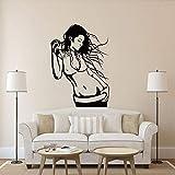 Escuchando música Encantadora Mujer Vinilo Pegatinas de Pared baño/Dormitorio Tatuajes de Pared decoración para el hogar niñas Dormitorio Papel Tapiz 84X115.5CM