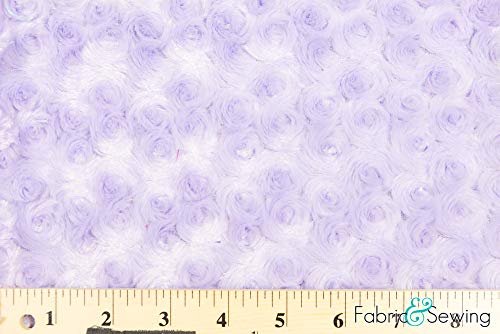 Lavender Lilac Purple Minky Swirl Rose Blossom Ball Rosebud Plush Fur Fabric Polyester 16 oz 58-60