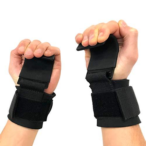 MATT TRAINING - Gancho de musculación para muñeca – Gancho de elevación de acero con agarre antideslizante – Lifting Straps, musculación, fitness, crossfit, levantamiento de pesas, talla única