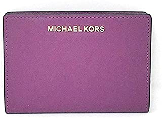 Michael Kors Women's Jet Set Travel Md Card Case Carryall Wallet, Leather - Pomegranate