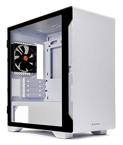 Thermaltake S100 Tempered Glass Snow Edition Micro-ATX mini-Tower Computer Case with 120mm Rear Fan Pre-Installed CA-1Q9-00S6WN-00, White