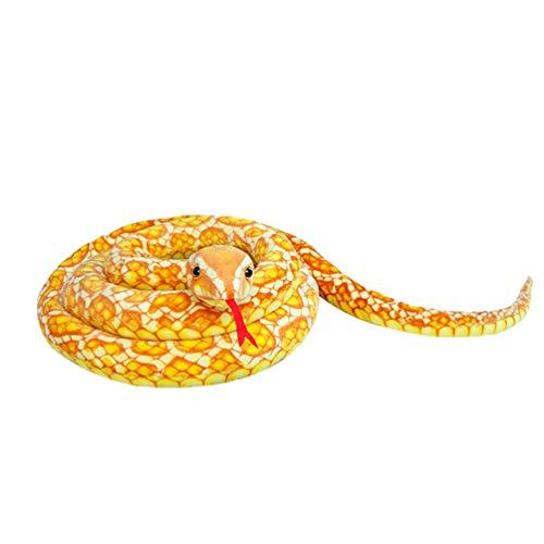 MILEE へびぬいぐるみ ヌイグルミ 全長300cm 超長 リアル蛇のおもちゃ 手品遊び  猛獣動物ぬいぐるみ (イエロー)