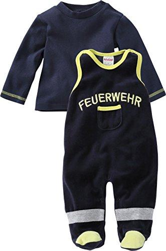 Playshoes GmbH Schnizler Unisex Baby Strampler Set Nicki, Feuerwehr, 2 - tlg. mit Langarmshirt, Oeko - Tex Standard 100, Gr. 62, Blau (marine 11)