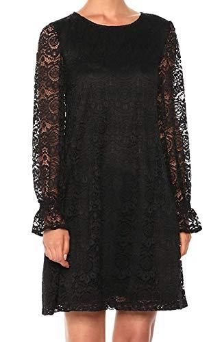 Nine West Women's Zig Zag Crochet Lace Shift Dress with Long Cuffed...