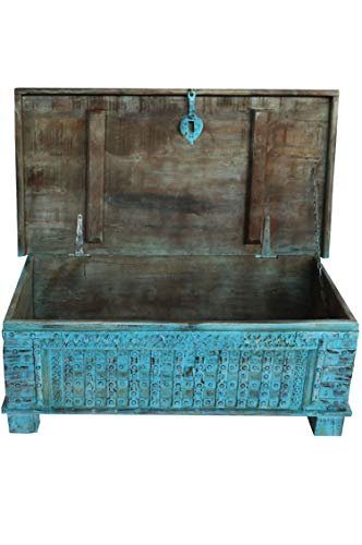 Orientalische Truhe Kiste Holz Ajala 121cm Vintage Blau | Vintage Sitzbank mit Aufbewahrung für den Flur | Aufbewahrungsbox mit Deckel im Bad | Betttruhe als Kissenbox oder Deko im Schlafzimmer - 3