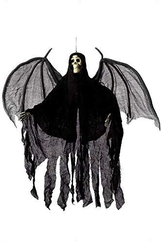 Smiffys Hängendes Engel Skelett, Gewand mit Kapuze und Flügeln, 105cm Höhe, Schwarz, 36044