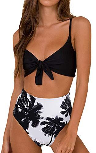 Conjunto de Bikini de Cintura Alta para Mujer Traje de Baño de Dos Piezas Traje de Baño de Nudo de Corbata de Guinga
