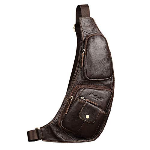 Leder Schultertasche Rucksack für Männer Frauen Crossbody Schulter Brust Day Pack Rucksäcke Daypacks Outdoor Travel