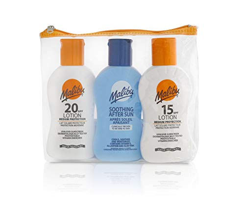 Malibu Travel Pack SPF20, SPF15 & Soothing After Sun Lotion (3 x 100ml)
