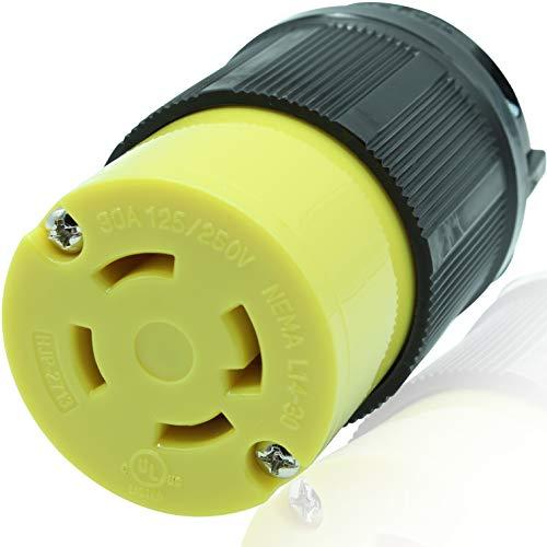 Journeyman-Pro 2713 30 Amp, 125/250 Volt, NEMA L14-30R, 3P, 4W, Locking Plug Connector, Black Industrial Grade, Grounding 7500 Watts Generator Rating (L14-30R (Female Plug))