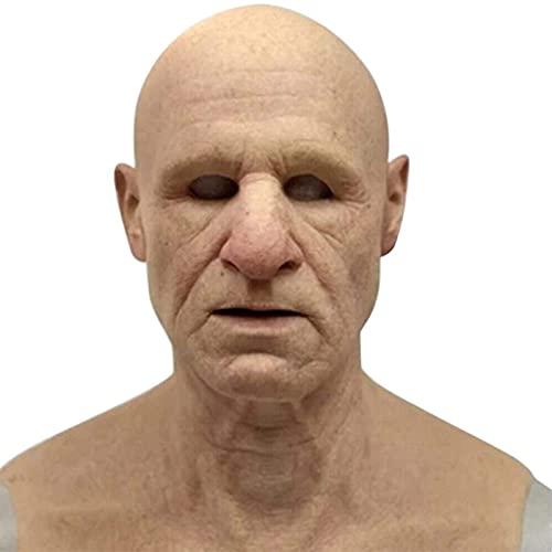 Pocxv Máscara de Halloween máscara de Hombre Viejo máscara de Hombre Viejo Peluca