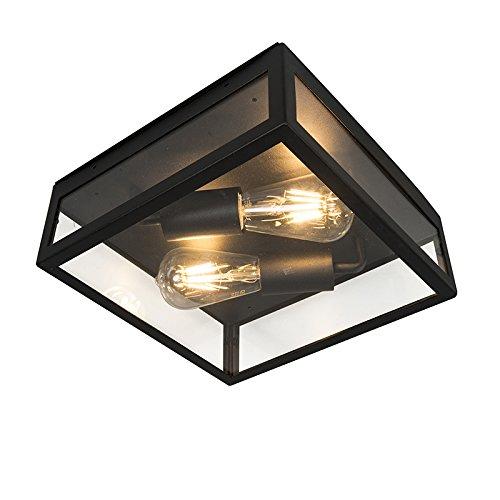 QAZQA Modern Industrielle Outdoor-Außen Deckenleuchte/Deckenlampe/Lampe/Leuchte schwarz 2-flammig - Rotterdam/Außenbeleuchtung Edelstahl/Glas Quadratisch LED geeignet E27 Max. 2 x 60 Watt