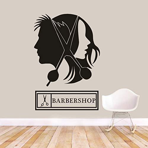 Tijera para cortar el pelo, pegatina de pared, logotipo de salón de peluquería Unisex, calcomanías para ventanas, diseño de pelo, cartel de barbería, cartel de pared A1 57x83cm