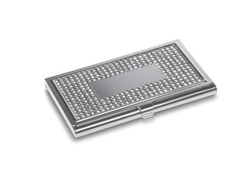 REFLECTS Visitenkartenetui/Visitenkartenbox mit glitzernden Steinen aus Metall MODAVE Silber