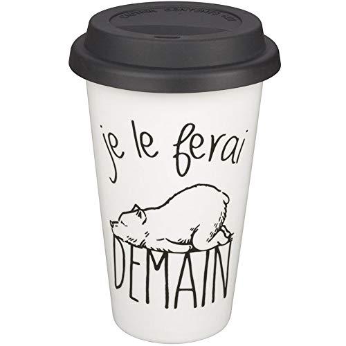 Le Fabuleux Shaman 36-2X-001 Mug Take away Je le ferai demain Blanc couvercle noir Porcelaine et silicone D10 x H15 cm