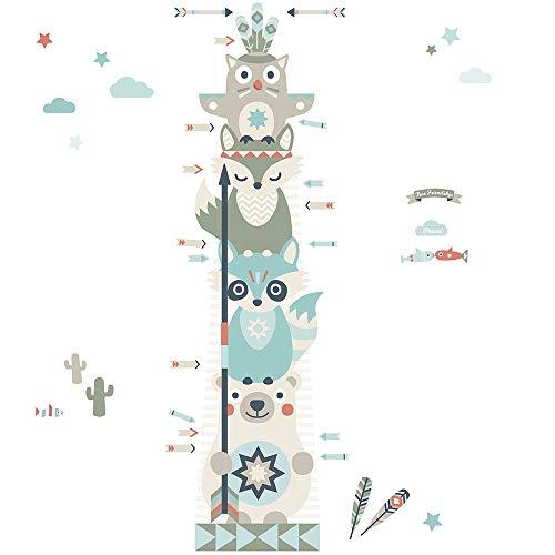 anna wand Messlatte LITTLE INDIANS für Kinder - Wandaufkleber mit Tier-Motiv in BEIGE/TÜRKIS/ROT- Messleiste für Kinderzimmer - Wandsticker für Körpergröße von Jungen und Mädchen